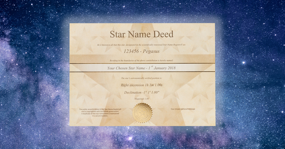 Register a Star and get this golden deed.