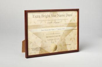 Star name registry certificate in wooden frame
