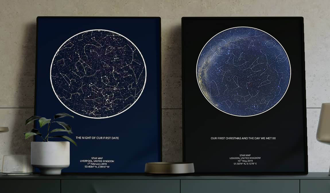 Star map prints from Maps For Moments