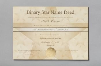 Star name registry binary star certificate