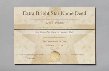 Star name registry extra bright star certificate
